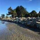 The completed rock seawall along the shoreline at Pounawea. Photo: Clutha District Council