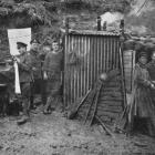 Artillerymen outside a dugout during the Somme advance. - Otago Witness, 20.6.1917