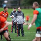 Steve Hansen looks on as the All Blacks train ahead of their first test against the British and...