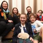 The Pettigrew family with Thomas the guinea pig (from left) Rachel, Aila (11), Freya (13), Nathan...
