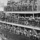 New Zealanders on a troopship, ready to join their comrades in the trenches. - Otago Witness, 27.6.1917.