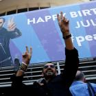 """Ringo Starr gestures to fans at a """"Peace & Love"""" event to celebrate his 77th birthday in Los..."""