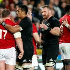 Lions and All Blacks congratulate each other after the final test at Eden Park. Photo: Reuters