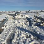 Snow still covers a bridge on Kyeburn River Rd, near Ranfurly, yesterday.  Photo: Fulton Hogan.