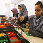 Members of Afghan robotics girls team which was denied entry into the United States for a...