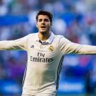 New Chelsea signing Alvaro Morata celebrates a goal for Real Madrid last season. Photo: Reuters