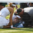 American Bethanie Mattek-Sands receives treatment from the medical team and later retires from...