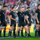 TJ Perenara leads the All Blacks in the haka before the second test at Westpac Stadium in...