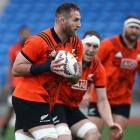 Kieran Read in action at an All Blacks training session in Auckland this week. Photo: Getty