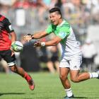 Sio Tomkinson of the Highlanders passes the ball during the pre-season Super Rugby match between the Crusaders and the Highlanders on February 4, 2017 in Darfield, New Zealand.