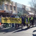 The Life Matters Suicide Prevention Trust's annual HopeWalk makes its way along George St on...