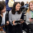 University of Otago international students (from left) Reiko Castillo (20), of the Philippines, ...