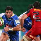 Jermaine Ainsley of the Force runs the ball during a Super Rugby match between the Force and the...