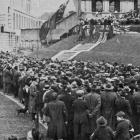 The crowd in front of Parliament Buildings, Wellington during the swearing-in ceremony for the...