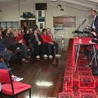 Labour leader Andrew Little talks policy with the Oamaru crowd, supported by (from left) Dunedin...