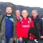 Lions fans (from left) Rob Howatson, of The Valleys, in South Wales, Mike Lowe, from Birmingham,...