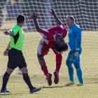 Nelson Suburb's Omar Guardiola celebrates scoring his team's third goal in its 6-1 victory over...