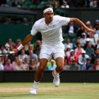 Roger Federer in action during his quarterfinal at Wimbledon. Photo: Getty Images