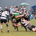 Green Island prop Timoci Tawaketini is tackled by the Southern trio of (from left) Mika Mafi,...
