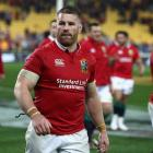 Sean O'Brien of the Lions walks off the pitch after their victory during the match between the...