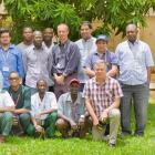 Professor Philip Hill (front, right, kneeling) at the Medical Research Council unit in Basse,...
