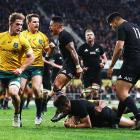 Beauden Barrett scores in dramatic All Blacks victory over the Wallabies in Dunedin tonight....