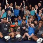 All Blacks (from left): Anton Lienert-Brown, Nehe Milner-Skudder and Waisake Naholo have fun with...