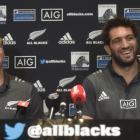 All Black locks Brodie Retallick (left) and Sam Whitelock at a press conference in Dunedin...