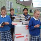 Kaitangata Primary School pupils (from left) Abby Stewart (11), Jai Sutton (12), Chirag Thakkar ...