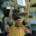Eales lifts the Bledisloe Cup in 2000. The All Blacks have held the cup since 2003. Photo: Supplied