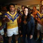 Labour leader Jacinda Ardern meets players from the Mt Albert rugby league team following their...