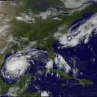 Tropical Storm Harvey is seen approaching the the Texas Gulf Coast in this satellite image. Photo...