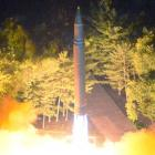 Intercontinental ballistic missile (ICBM) Hwasong-14 is pictured during its second test-fire....