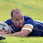 Whalers centre Hyrum Martin scores a try in their win over the Southland Rams at the Oval on...