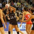 Maria Tutaia with the ball during the Silver Ferns' match with England in the Quad Series earlier...