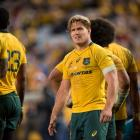 Michael Hooper reacts during the Wallabies' loss to the All Blacks at the weekend. Photo: Getty...