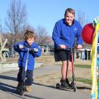 Alexandra Primary pupils William Gray (5, left) and Jackson Hyslop (13) cruise along the school's...