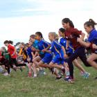 Year 5 girls start their race at the North Otago Primary and Intermediate Schools Cross Country...