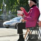 Norma Burton runs the Knox Church poppy day stall on the corner of George and Frederick Sts in...