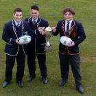 King's High School First XV co-captains Tom Hume (18, left) and James Te Pairi (17) and John...