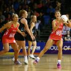 Beth Cobden of England catches a pass during her team's win over the Silver Ferns last night....
