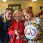 Cynthia Dwan, of Dunedin, celebrates her 100th birthday with great-niece Andrea McFarlane (left)...