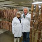 Linda McCallum Jackson and Ian Jackson in the meat-drying room of the Dunedin factory. Their pork...