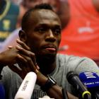Usain Bolt at today's press conference. Photo: Reuters