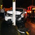 A ute collided with a power pole in Mornington. Photo: Stephen Jaquiery