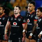 Warriors players look on during their recent game against the Sharks. Photo: Getty Images