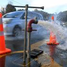 A water main  in North Dunedin is flushed to remove contaminated water at the height of the city...
