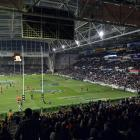 A partly-lit Forsyth Barr Stadium before last month's Bledisloe Cup test between Australia and...