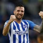 Brighton's Shane Duffy celebrates after the match. Photo: Reuters