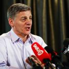 National Party leader Bill English speaks to the media yesterday in Auckland  about National's...